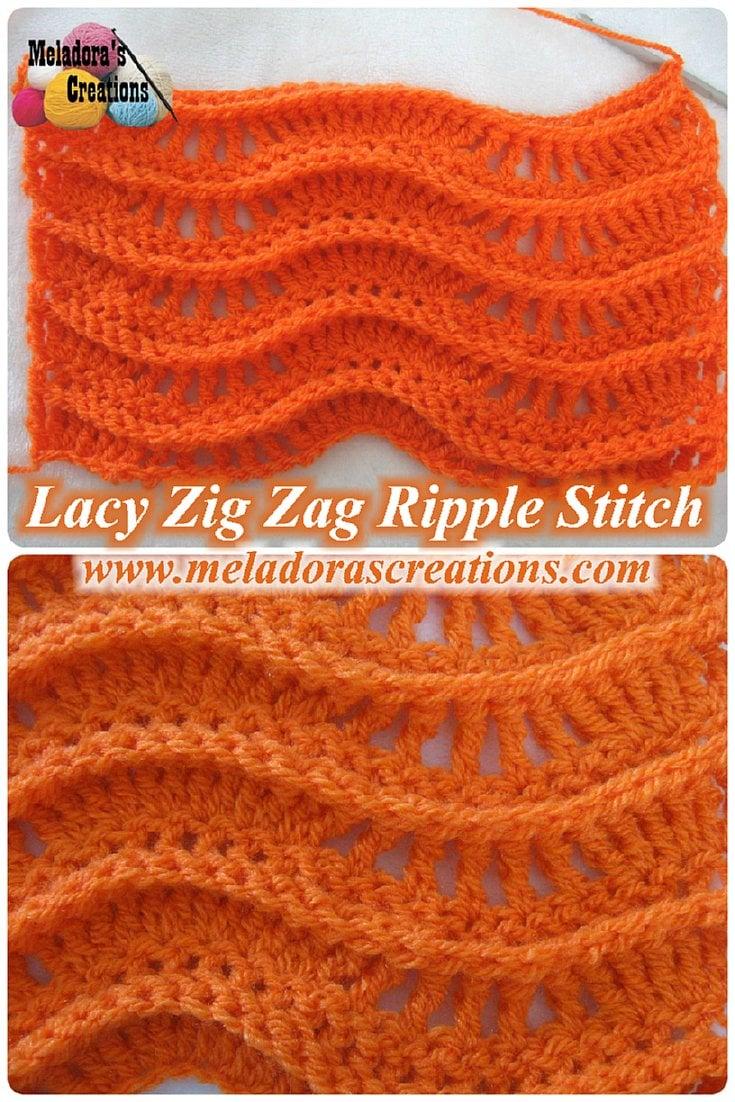 Lacy Zig Zag Ripple Stitch ~ Meladora's Creations