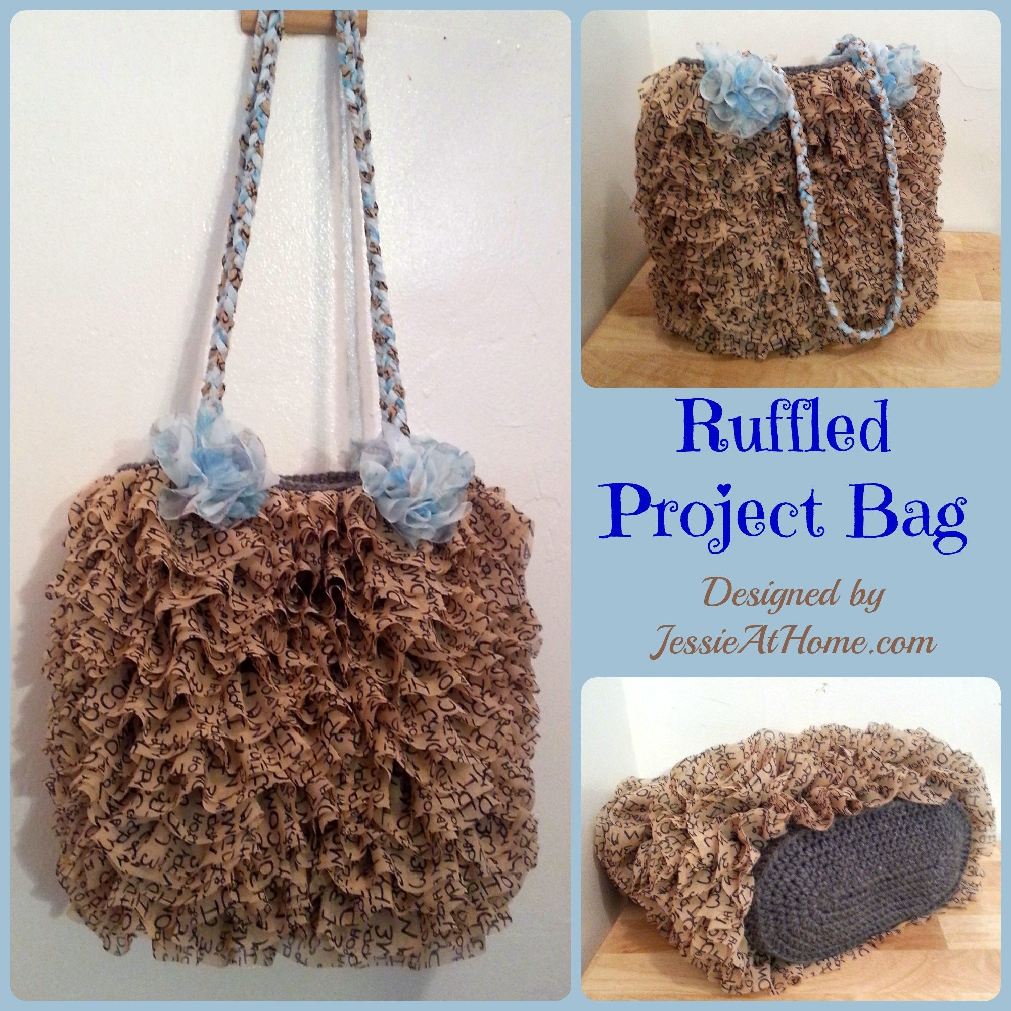 Crochet Project Bag : Ruffled Project Bag ~ FREE Crochet Pattern
