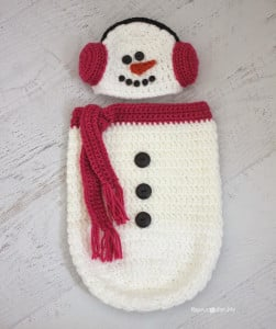 Crochet Snowman Ear Muff Hat and Cocoon ~ Repeat Crafter Me