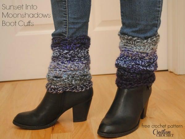 Sunset Moonshadows Boot Cuffs Free Crochet Pattern