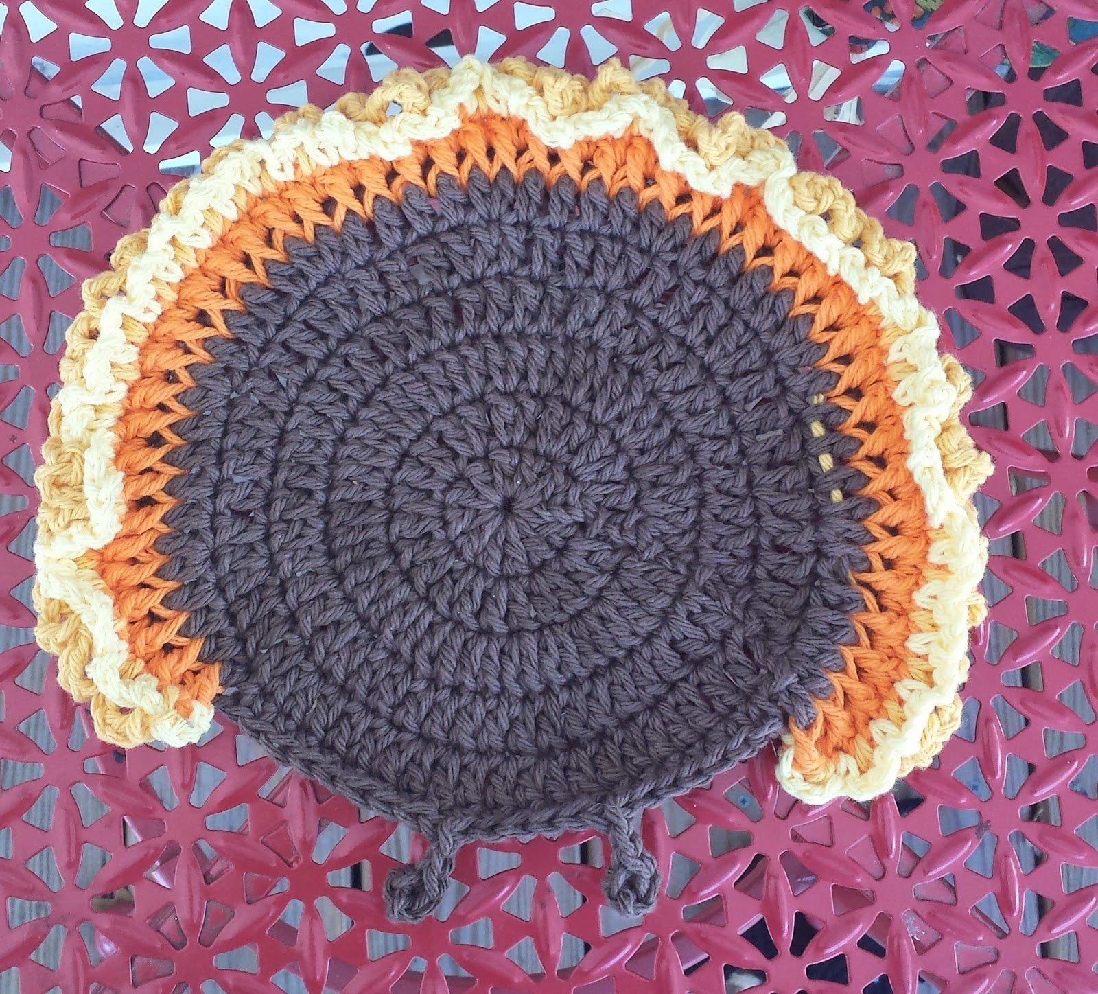 Free Knitting Pattern Turkey Dishcloth : Turkey Gobble Dishcloth ~ FREE Crochet Pattern