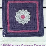 12″ Wildflower Granny Square No. 2 ~ Little Monkeys Crochet