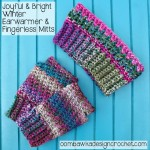 Joyful and Bright Winter Fingerless Gloves ~ Oombawka Design