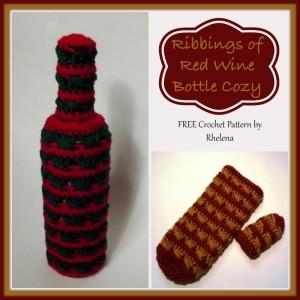 Ribbings of Red Wine Bottle Cozy ~ Rhelena - CrochetN'Crafts