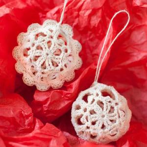 Lace Crochet Christmas Ornaments ~ Petals to Picots