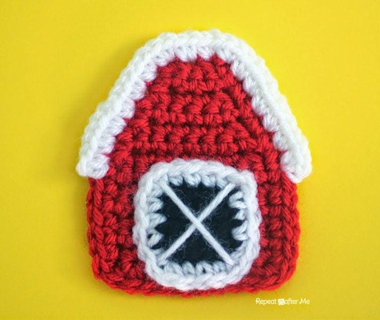 Crochet Barn Applique ~ Repeat Crafter Me