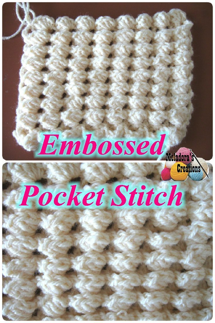 Crochet Stitches Meladora : Crochet Embossed Pocket Stitch ~ Crochet Tutorial