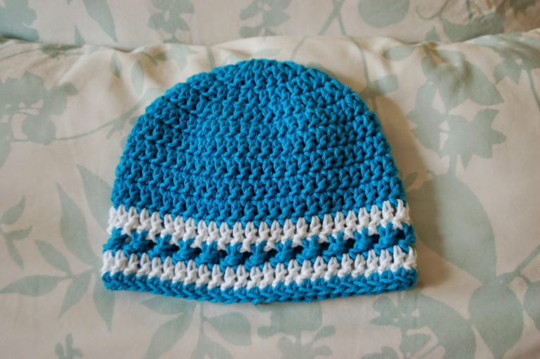 Beanie with Crossed Texture Detail Row - 6 Months ~ Alli Crafts