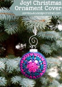 Joy! Festive Christmas Ornament Cover ~ Oombawka Design