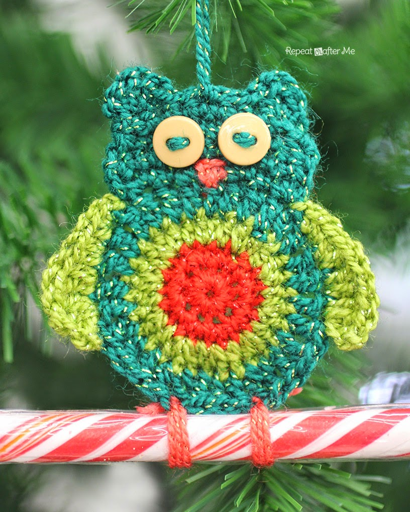 Crochet Owl Candy Cane Ornament ~ Repeat Crafter Me