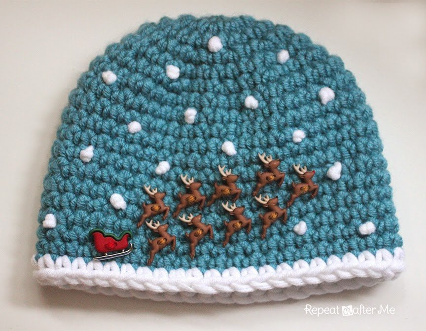 Crochet Santa Sleigh and Reindeer Hat ~ Repeat Crafter Me