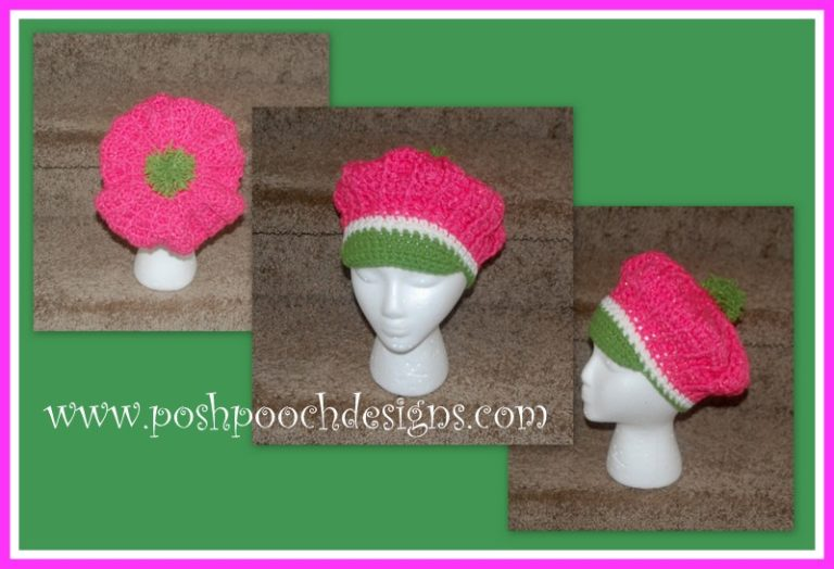 Strawberry Shortcake Beret Hat ~ Sara Sach - Posh Pooch Designs