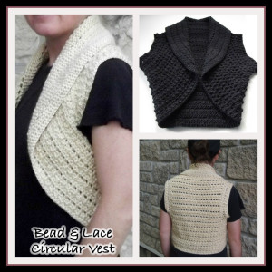 Bead and Lace Circular Vest ~ Rhelena - CrochetN'Crafts