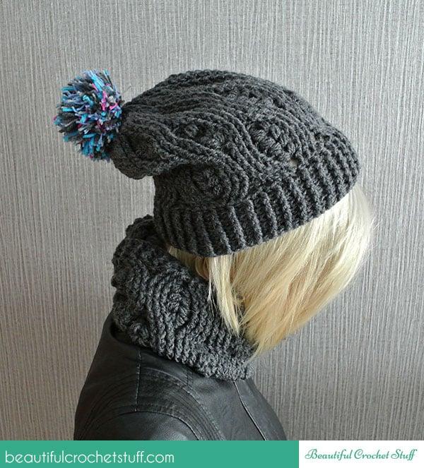 Crochet Infinity Scarf And Crochet Beanie ~ Jane Green - Beautiful Crochet Stuff