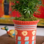 Tapestry Flower Pot Cozy ~ Nirmal Kaur Khalsa - Red Heart