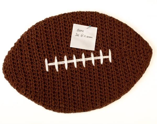 Free Crochet Football Rug Pattern : Football Cork Board ~ FREE Crochet Pattern