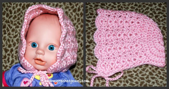 0-3 Month old Baby Bonnet ~ FREE Crochet Pattern