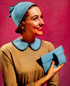 Hat, Bag & Collar Set Pattern ~ Free Vintage Crochet