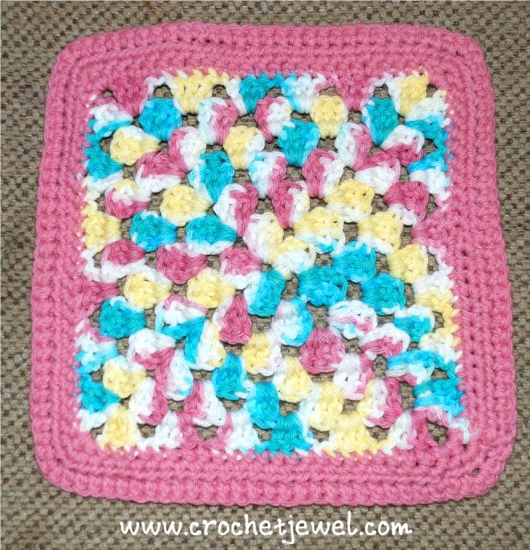Crochet Granny Square Wash Cloth ~ Amy - Crochet Jewel