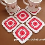 Pretty Square Coaster ~ Patterns For Crochet