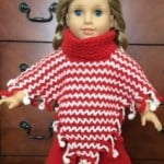 American Girl Doll V-Stitch Two-Color Poncho with Crochet Fringe ~ ABC Knitting Patterns