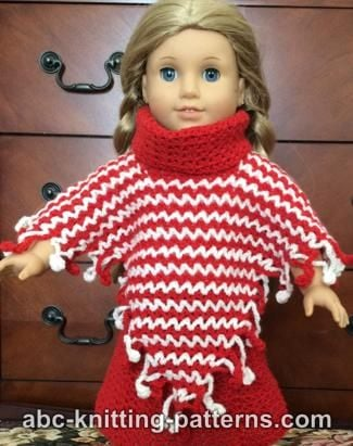 Free Knitting Pattern For Poncho For American Girl Doll : American Girl Doll V-Stitch Two-Color Poncho ~ FREE Crochet Pattern