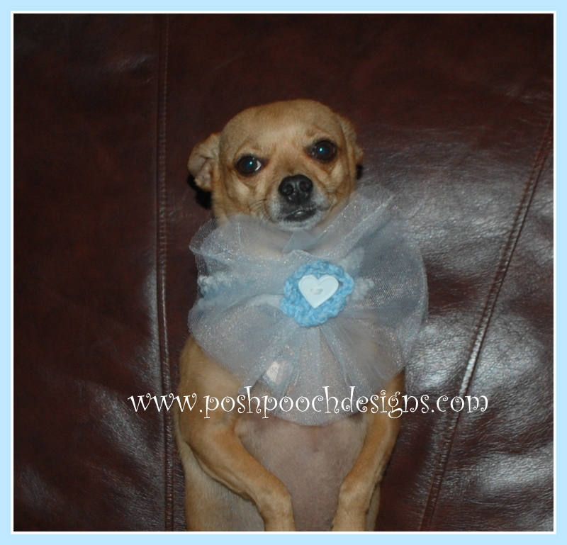 Wedding Dog Collar with Tulle Flower ~ Sara Sach - Posh Pooch Designs