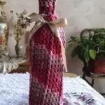 Raspberry Surprise Front Post Wine Cozy ~ Alexandra Richards - EyeLoveKnots