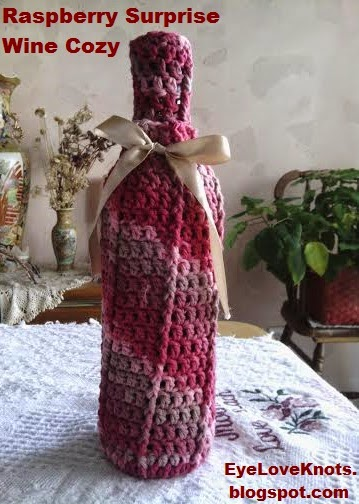 Raspberry Surprise Front Post Wine Cozy ~ Alexandra Richards - EyeLoveKnots