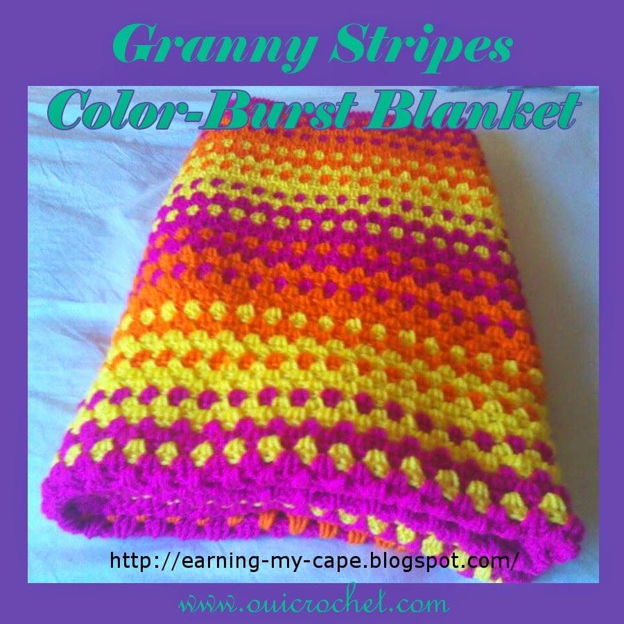 Granny Stripes Color-Burst Blanket ~ Oui Crochet