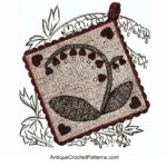 Bleeding Hearts Pan Holders ~ Antique Crochet Patterns