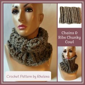 Chains and Ribs Chunky Cowl ~ Rhelena - CrochetN'Crafts