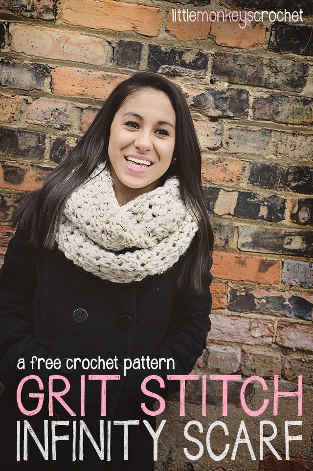 Grit Stitch Infinity Scarf ~ Rebecca Langford - Little Monkeys Crochet