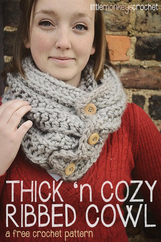 Thick 'n Cozy Ribbed Cowl ~ Rebecca Langford - Little Monkeys Crochet
