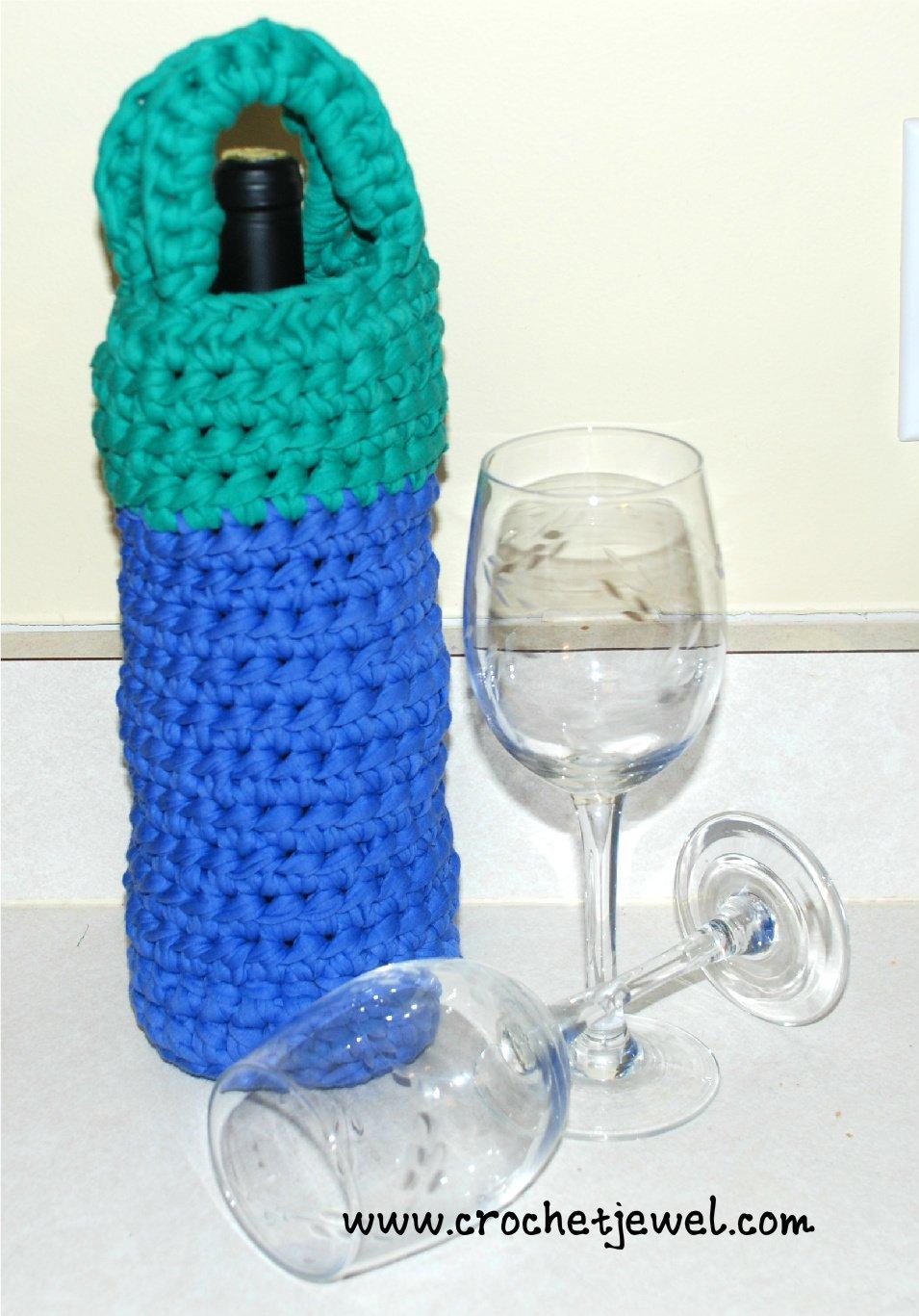 Crochet Fettuccini Yarn Wine Holder ~ Amy - Crochet Jewel