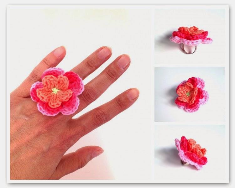 Crochet Flower Ring ~ Annemarie's Crochet Blog