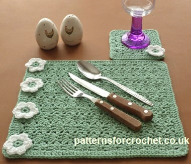 Placemat and Coaster ~ Patterns For Crochet