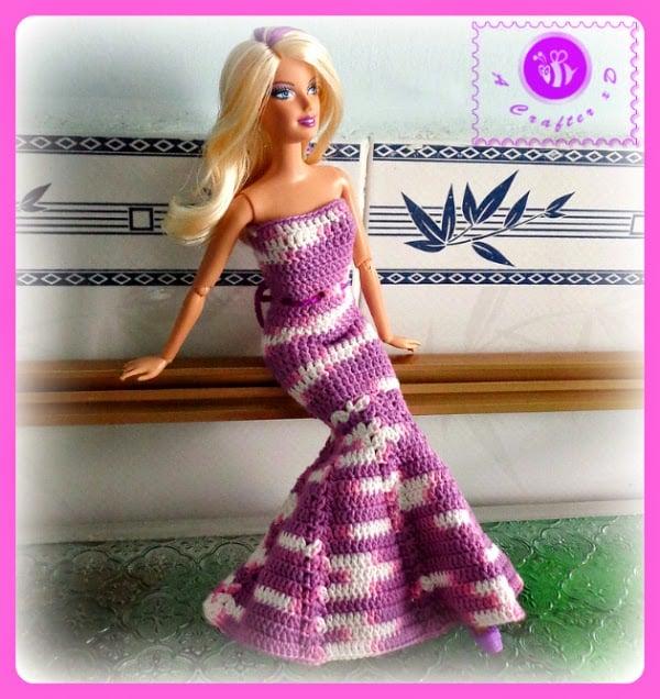Fashion Doll Mermaid Dress Free Crochet Pattern