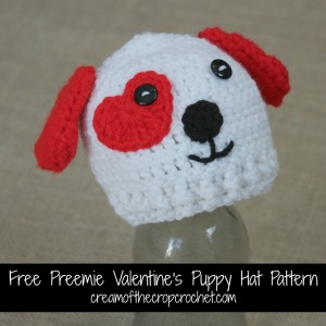 Preemie Valentine's Puppy Hat ~ Cream Of The Crop Crochet