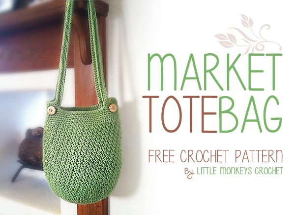 Crochet Market Bag Free Pattern : Market Tote Bag ~ Rebecca Langford - Little Monkeys Crochet