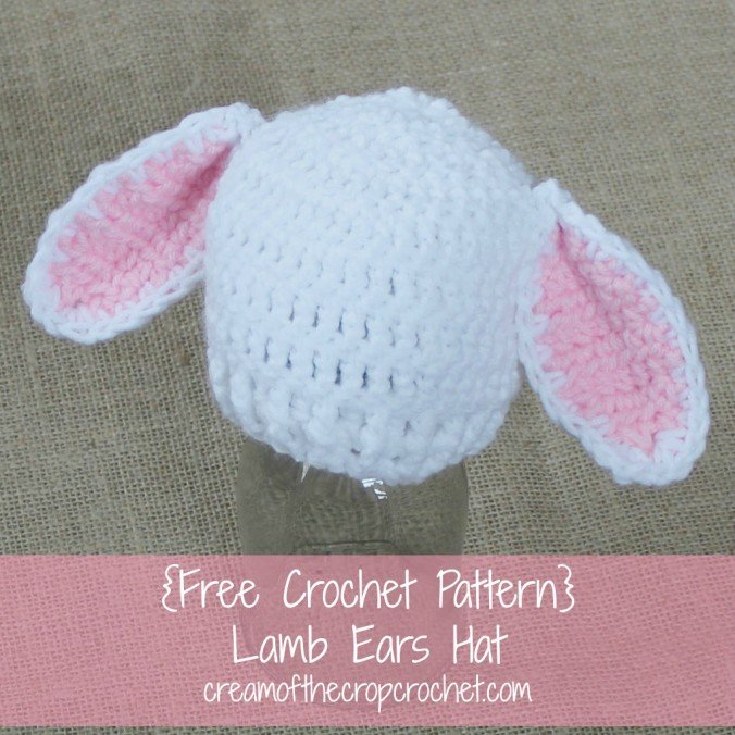 Free Crochet Pattern Baby Lovey : Preemie Lamb Ears Hat ~ FREE Crochet Pattern