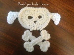 Puppy Skull n Bones Applique ~ Manda Proell - MandaLynn's Crochet Treasures