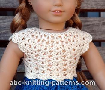 Abc Knitting Patterns Baby Booties : American Girl Doll Seashell Summer Top ~ FREE Crochet Pattern