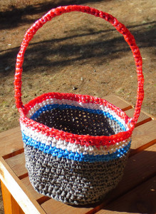 Red, White and Blue Plarn Basket ~ My Recycled Bags