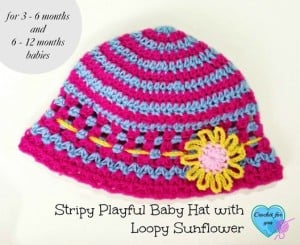 Stripy Playful Baby Hat with Loopy Flower ~ Erangi Udeshika - Crochet For You