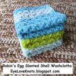 Robin's Egg Slanted Shell Washcloths ~ Alexandra Richards – EyeLoveKnots