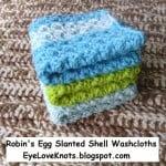 Robin's Egg Slanted Shell Washcloths ~ Alexandra Richards – EyeLoveKnots
