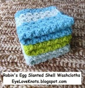 Robin's Egg Slanted Shell Washcloths ~ Alexandra Richards - EyeLoveKnots
