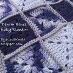 FREE crochet pattern for a Blue Denims Granny Square Baby Blanket by EyeLoveKnots.