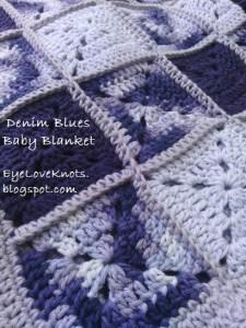 FREE crochet pattern for a Blue Denims Granny Square Baby Blanket by EyeLoveKnots.